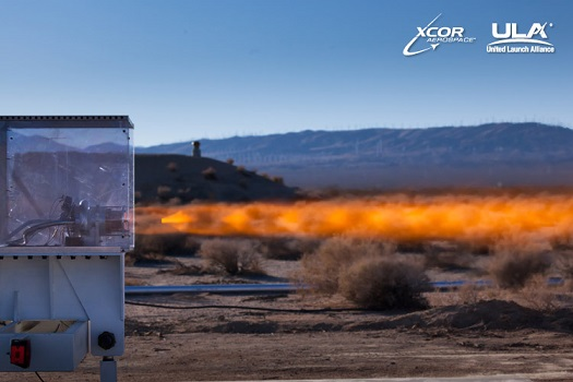 The XCOR XR-5H25 engine was hot fired for the first time at the XCOR test site located on the Mojave Air & Space Port in Mojave, California. (Credit: XCOR)
