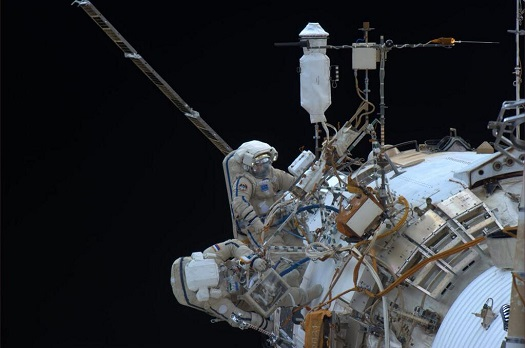 Flight Engineer Rick Mastracchio captured this view of spacewalkers Oleg Kotov and Sergey Ryazanskiy working outside the International Space Station and posted it to Twitter. (Credit: NASA)