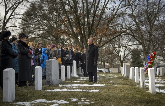 NASA Administrator Charles Bolden speaks to NASA personnel and others during a wreath laying ceremony as part of NASA's Day of Remembrance, Friday, Jan. 31, 2014, at Arlington National Cemetery.  The wreaths were laid in memory of those men and women who lost their lives in the quest for space exploration.  Photo Credit: (NASA/Bill Ingalls)