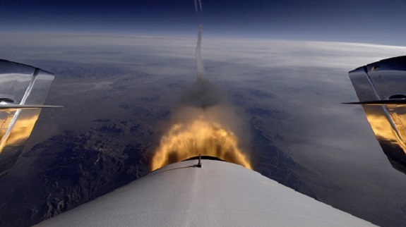Looking back as SpaceShipTwo's rocket engine fires during the third powered flight. (Credit: Virgin Galactic)