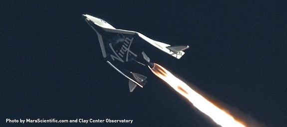 SpaceShipTwo fires its engine on third powered test flight.