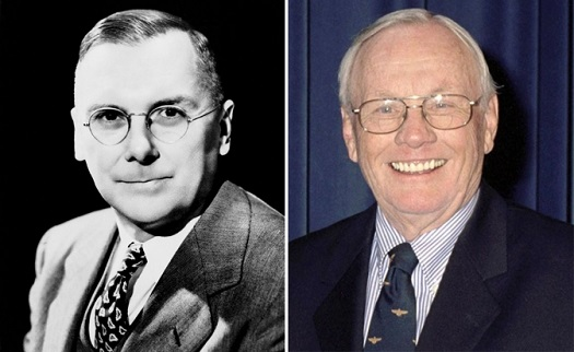 Dr. Hugh L. Dryden, left, and Neil A. Armstrong, right. (Credit; NASA)