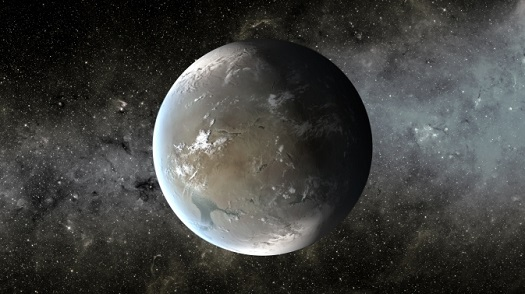 The artist's concept depicts Kepler-62f, a super-Earth-size planet in the habitable zone of a star smaller and cooler than the sun, located about 1,200 light-years from Earth in the constellation Lyra. (Credit: NASA Ames/JPL-Caltech)