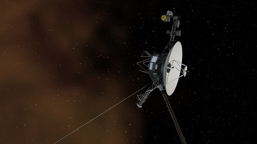 This artist's concept shows the Voyager 1 spacecraft entering the space between stars. (Credit: NASA)
