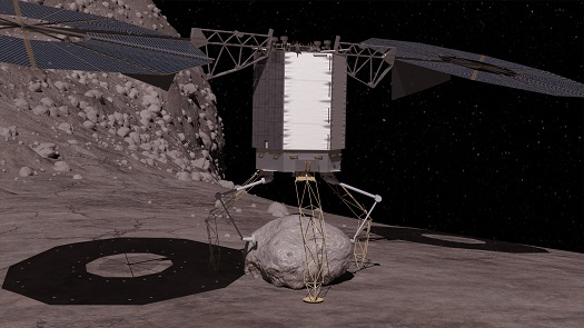 In this concept image, the robotic vehicle descends to the surface of a large asteroid to collect a boulder that it can redirect to a distant retrograde lunar orbit. (Credit: NASA)