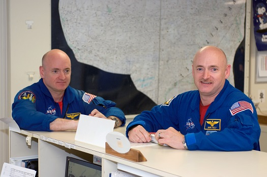 Astronauts Mark Kelly (right), STS-124 commander, and Scott Kelly are pictured in the check-out facility at Ellington Field near NASA's Johnson Space Center as the STS-124 crewmembers prepare for a flight to Kennedy Space Center in NASA T-38 trainer jets. (Credit: NASA)