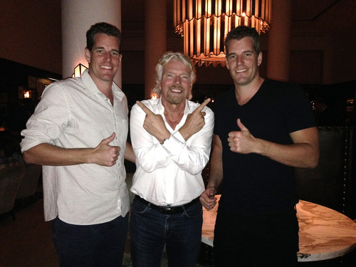 The Winkelvoss twins with RIchard Branson. (Credit: Virgin Galactic)