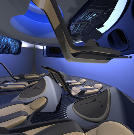 Commercial interior of the Boeing Crew Space Transportation (CST-100) next-generation manned space capsule, (Credit: Boeing)