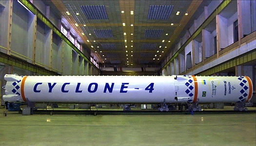 Cyclone 4 first and second stages. (Credit: Alcantara Space)
