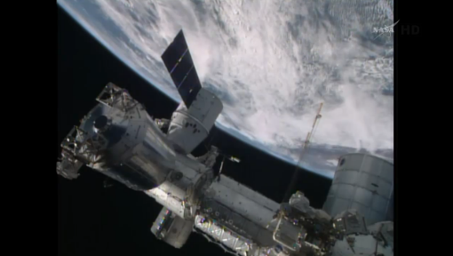 Dragon berthed at ISS. (Credit: NASA)