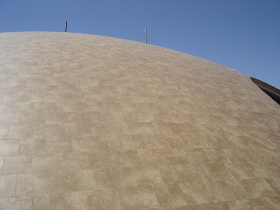 Tile roof of the Mission control and fires station building. (Credit: Alex Heard)