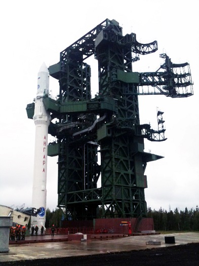 Angara-1.2 launch vehicle on pad at Plesetsk. (Credit: Khrunichev)