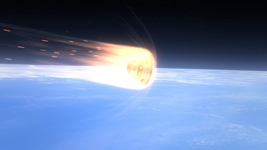 This computer-generated art depicts Orion's heat shield protecting the crew module as it enters the Earth's atmosphere. (Credit: NASA)