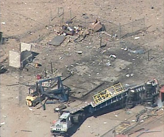 Remains of Scaled Composites test stand after a nitrous oxide explosion in July 2007.