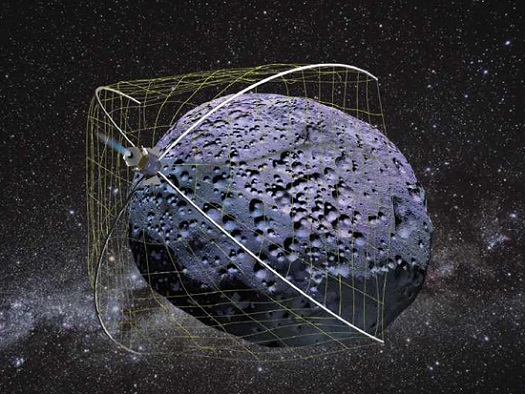 An asteroid capture system called WRANGLER. (Credit: Tethers Unlimited)