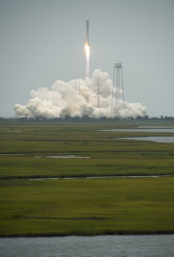 The Orbital Sciences Corporation Antares rocket launches from Pad-0A with the Cygnus spacecraft onboard, Sunday, July 13, 2014, at NASA's Wallops Flight Facility in Virginia. The Cygnus spacecraft is filled with over 3,000 pounds of supplies for the International Space Station. (Credit: NASA/Bill Ingalls)