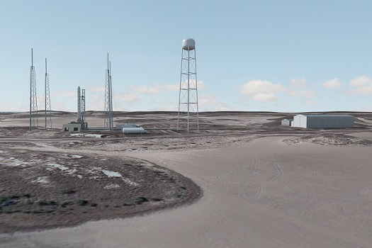 Rendering of SpaceX's Boca Chica launch complex. (Credit: SpaceX)