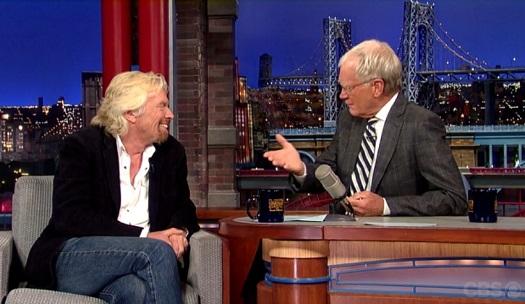 Richard Branson chats with David Letterman (Credit: CBS Television)