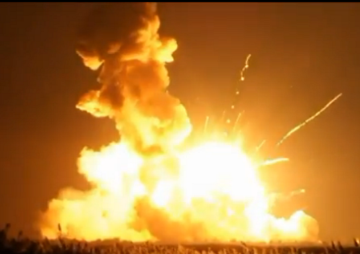A massive explosion occurred right after the Antares rocket hit the ground.