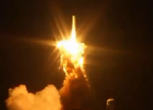 The bottom of the Antares explodes right after liftoff.
