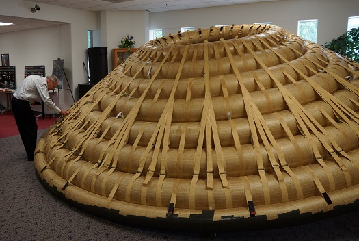 NASA researchers have tested an almost 20-foot inflatable spacecraft heat shield in wind tunnels and laboratories. (Credit:  NASA/Kathy Barnstorff)