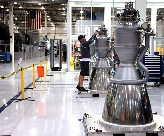 Marlin 1D engines undergoing checks. (Credit: SpaceX)