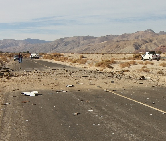 The spot where SpaceShipTwo's cockpit crashed. Mike Alsbury's body lay just off camera to the left. (Credit: Douglas Messier)