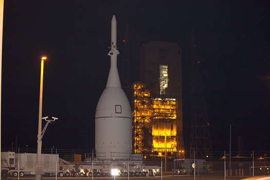 NASA's Orion spacecraft passes into Space Launch Complex-37 SLC-37 at Cape Canaveral Air Force Station to complete its move from the Launch Abort System Facility at NASA's Kennedy Space Center. (Credit:  NASA/Kim Shiflett)