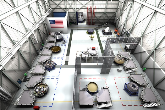 Concept of the floor of the CST-100 assembly facility that Boeing envisions at Kennedy Space Center. (Credit: Boeing)