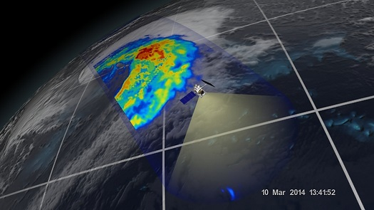 An extra-tropical cyclone seen off the coast of Japan, March 10, 2014, by the GPM Microwave Imager. (Credit: NASA/JAXA)