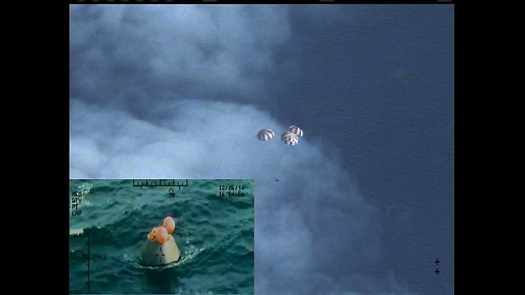 Orion splashed down safely in the Pacific after its first test flight. (Credit: NASA)