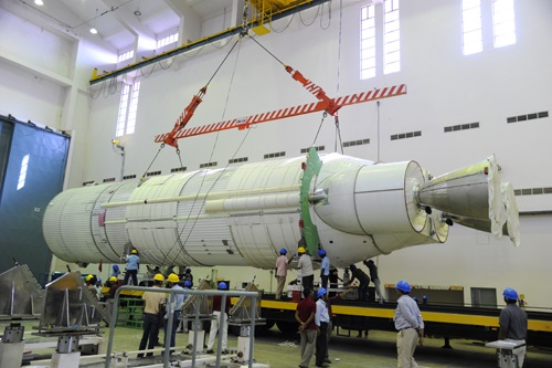 The L110 liquid core stage being prepared at stage preparation facility. (Credit: ISRO)