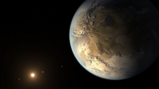 The artist's concept depicts Kepler-186f , the first validated Earth-size planet to orbit a distant star in the habitable zone. (Credit: NASA Ames/SETI Institute/JPL-Caltech)