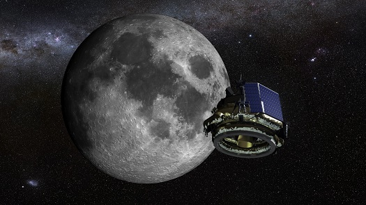 An artist illustration of the Moon Express MX-1 lunar lander on its mission to the moon. (Credit: Moon Express)