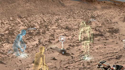 New NASA software called OnSight will use holographic computing to overlay visual information and data from the agency's Mars Curiosity Rover into the user's field of view. Holographic computing blends a view of the physical world with computer-generated imagery to create a hybrid of real and virtual. (Credit:  NASA)