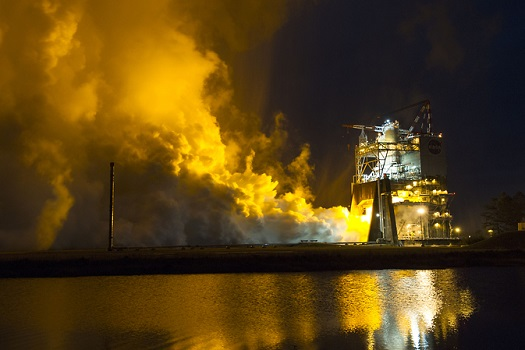 The RS-25 engine fires up for a 500-second test Jan. 9 at NASA's Stennis Space Center near Bay St. Louis, Mississippi. (Credit: NASA)