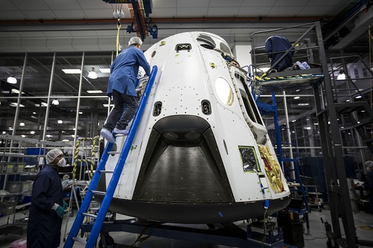 SpaceX Dragon vehicle undergoes preparation for abort test. (Credit: NASA)