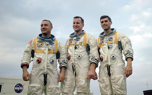 Apollo 1 astronauts Gus Grissom, Ed White and Roger Chaffee. (Credit: NASA)