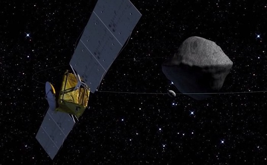 ESA's Asteroid Impact Mission spacecraft will be humanity's first mission to a binary system – the paired Didymos asteroids, which come a comparatively close 11 million km to Earth in 2022. (Credit: APL)