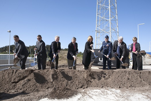 Officials take part in the formal groundbreaking at Space Launch Complex 41 where the Commercial Crew Access Tower will be built. The 200-foot-tall structure is designed to provide safe access for flight and ground crews to the Boeing CST-100 spacecraft at the pad. (Credit: NASA)