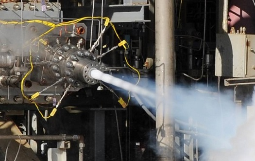 Aerojet Rocketdyne recently conducted hot-fire testing of a multi-element preburner injector for the AR1 rocket engine. A similar multi-element injector built using additive manufacturing will be hot-fire tested this spring. (Credit: Aerojet Rocketdyne)