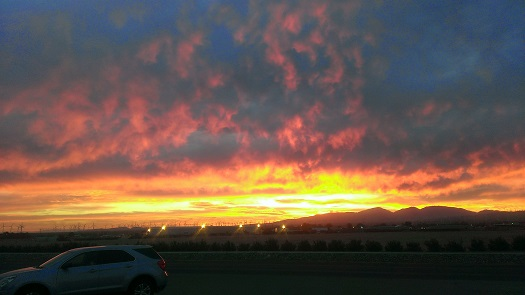 Sunset from the Mojave Air and Space Port, Oct. 30, 2014. (Credit: Douglas Messier)