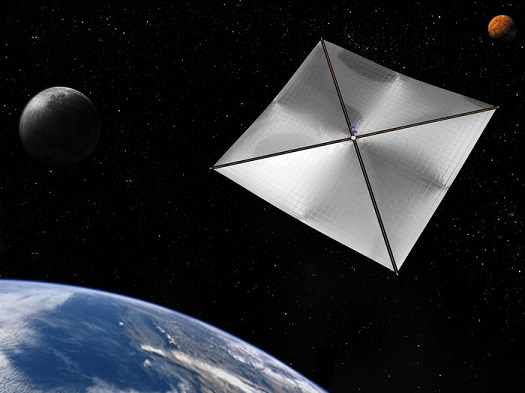 Four-quadrant solar sail attached to Earth-orbiting satellite, which could speed up the deorbiting process for future missions. (Credit: NASA)