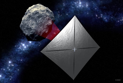 A concept image of the Near-Earth Asteroid Scout mission, one of 11 missions that will be secondary payloads to the first test flight of NASA's Space Launch System. (Credit: NASA)