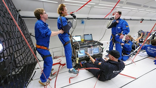 Researchers conduct a cardiovascular experiment in microgravity. (Credit: DLR)