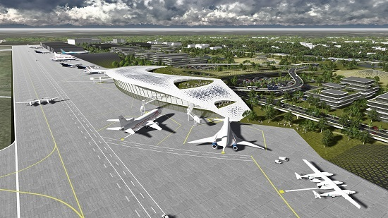 Artist's rendition of Ellington Spaceport includes two Virgin Galactic WhiteKnightTwo/SpaceShipTwo combinations, Orbital ATK's Stargazer air-launch plane, and a futuristic looking point-to-point aircraft. (Credit: Houston Airport System)