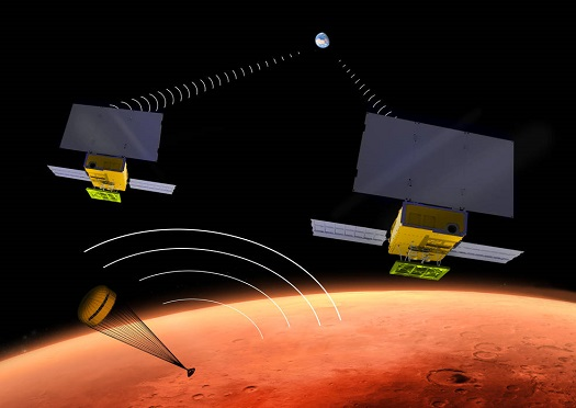 NASA's two small MarCO CubeSats will be flying past Mars in 2016 just as NASA's next Mars lander, InSight, is descending through the Martian atmosphere and landing on the surface. MarCO, for Mars Cube One, will provide an experimental communications relay to inform Earth quickly about the landing. (Credit: NASA/JPL-Caltech)