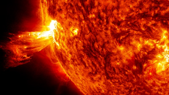 On June 20, 2013, NASA's Solar Dynamics Observatory spacecraft captured this coronal mass ejection (CME). A solar phenomenon that can send billions of tons of particles into space that can reach Earth one to three days later. (Credit NASA)