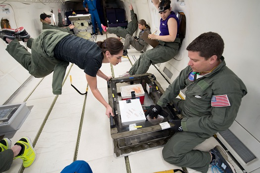 Northwestern University researchers gathered data for their foam experiment during parabolic flight. (Credit: NASA Photo)