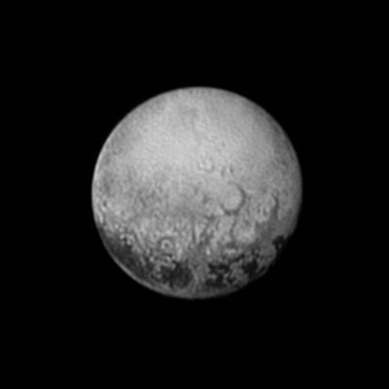 New Horizons' last look at Pluto's Charon-facing hemisphere reveals intriguing geologic details that are of keen interest to mission scientists. This image, taken early the morning of July 11, 2015, shows newly-resolved linear features above the equatorial region that intersect, suggestive of polygonal shapes. This image was captured when the spacecraft was 2.5 million miles (4 million kilometers) from Pluto. (Credit: NASA/JHUAPL/SWRI)